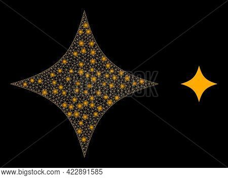 Glowing Mesh Space Star With Glowing Spots. Vector Grid Generated From Space Star Icon. Glowing Carc