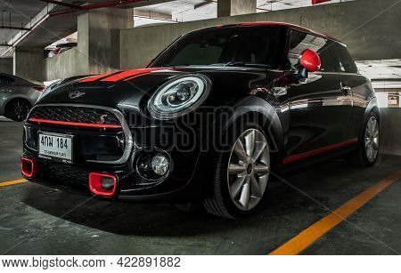 Bangkok, Thailand - 27 May 2021 : Side View Of Black Mini Cooper Parked In The Parking Lot. Selectiv