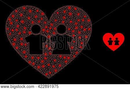 Bright Mesh Romantic Heart With Light Spots. Vector Carcass Based On Romantic Heart Icon. Illuminate