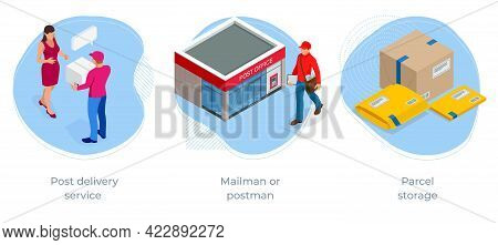 Isometric Concept Of Post Office, Post Delivery Service , Mailman Or Postman, Parcel Storage, Corres