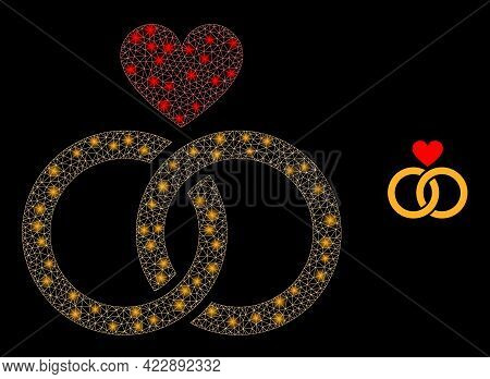 Sparkle Mesh Romantic Rings With Light Spots. Vector Carcass Based On Romantic Rings Icon. Sparkle C