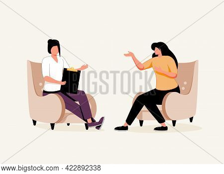 Female Psychotherapist Has An Individual Session With Her Patient And Sees Positive Results. Happy W