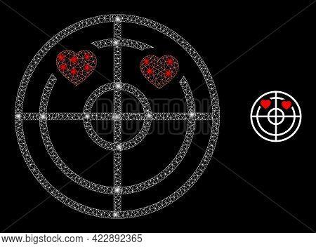 Glossy Net Love Hearts Radar With Lightspots. Vector Carcass Based On Love Hearts Radar Icon. Glossy