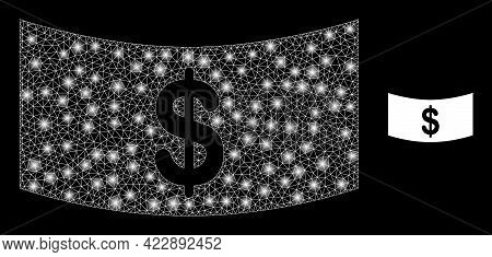 Constellation Mesh Dollar Banknote With Lightspots. Vector Carcass Based On Dollar Banknote Icon. Fl