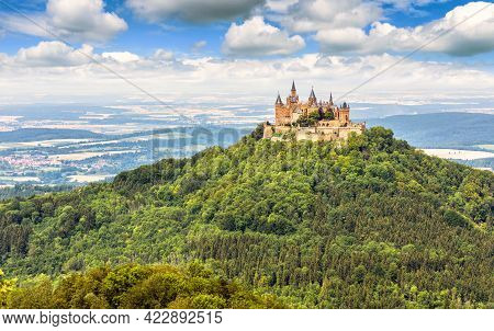 Landscape With Hohenzollern Castle On Mountain Top, Germany. It Is Landmark Of Swabian Alps. Scenic