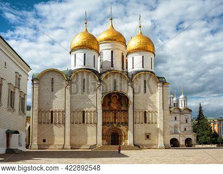 Dormition Or Assumption Cathedral (uspensky Sobor) Inside Moscow Kremlin, Russia. It Is Old Landmark