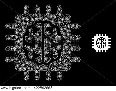 Sparkle Mesh Brain Chip With Lightspots. Vector Model Based On Brain Chip Icon. Bright Frame Mesh Br