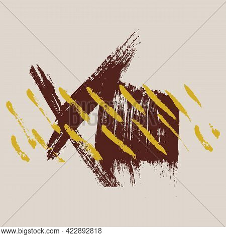 Palette Modern Brush With Oil Paint. The Poster Is Isolated Vector. A Beautiful Collection Of Hand-d