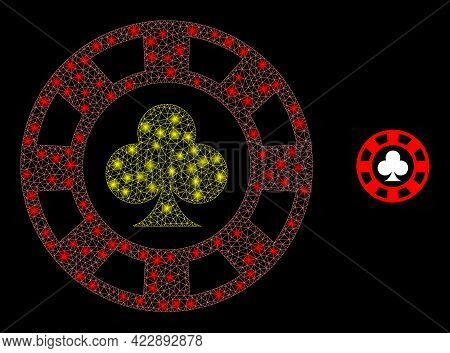 Constellation Network Clubs Casino Chip With Light Spots. Vector Frame Based On Clubs Casino Chip Ic