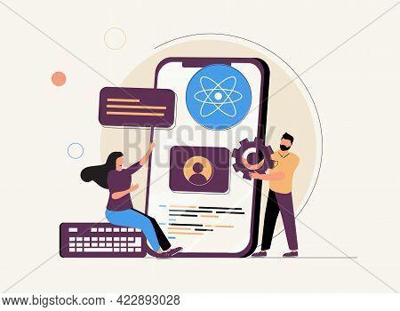 Mobile App Development Process Abstract Concept Vector Illustration Set. React Native Mobile App, Ex