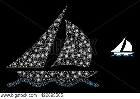 Sparkle Network Sailing With Light Spots. Vector Grid Based On Sailing Icon. Sparkle Frame Polygonal