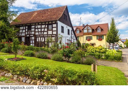 Landscape Design With Stones, Plants And Flowers At Residential Houses In Reichenau Island, Germany,
