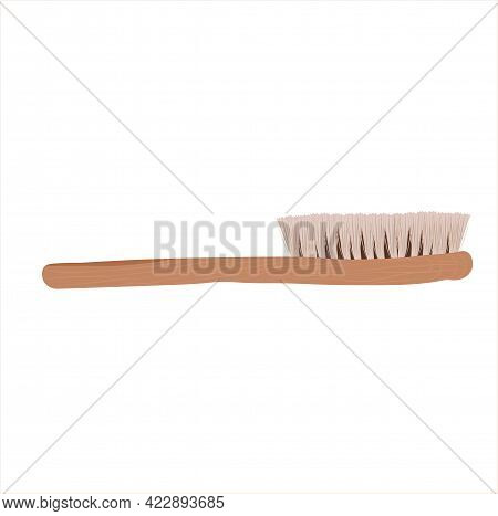 Vector Stock Illustration Of A Massage Brush For Lymph Massage. Drybrushed. Wooden Comb For The Body
