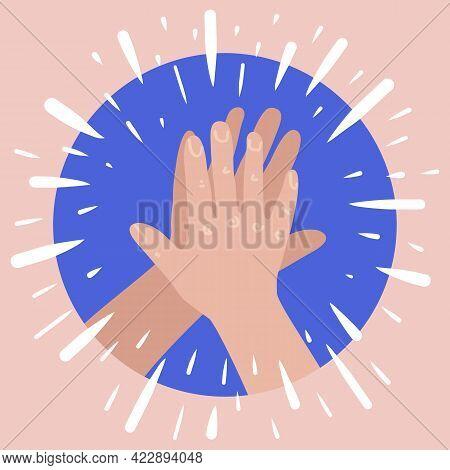 High Five Hands. Two Hands Giving High Five. Success Teanwork Concept.