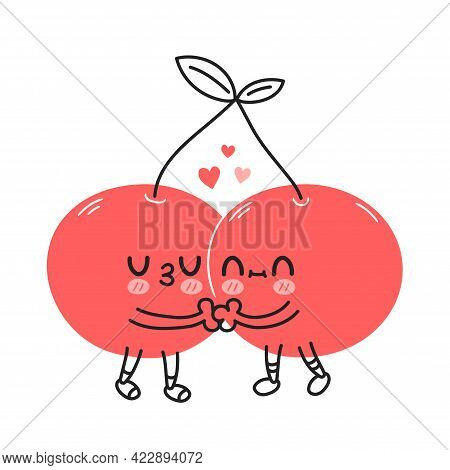 Cute Funny Cherry Berry Couple. Vector Hand Drawn Cartoon Kawaii Doodle Character Illustration Icon.