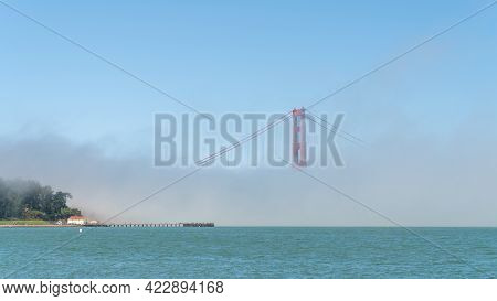 San Francisco, Usa - August 2019: Golden Gate Bridge Under Fog, With One Tower Visible. The Golden G