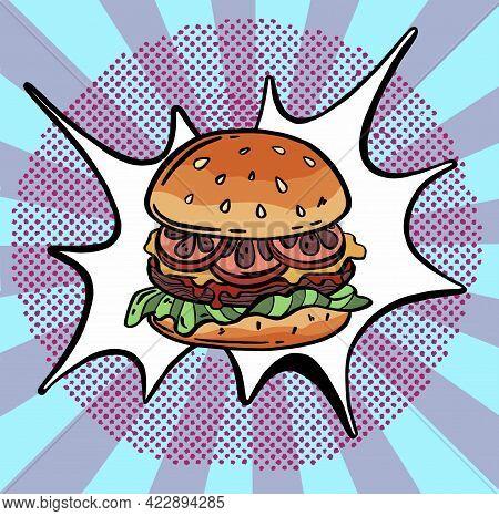 Hand Drawn Illustration Of Hamburger, Cheeseburger, Burger. Dotted Effect.
