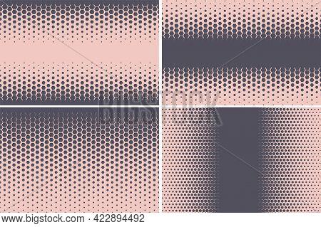 Hexagonal Pattern. Geometric Hexagon Halftone Abstract Background. Vector