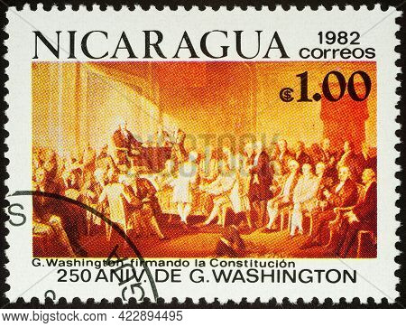 Moscow, Russia - June 06, 2021: Stamp Printed In Nicaragua Shows George Washington Signing The Const