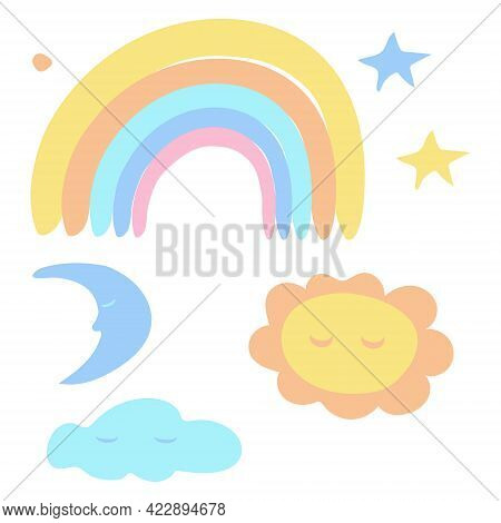 Isolated Elements On A White Background. Delicate Children's Rainbow, Sun, Moon And Stars. Suitable