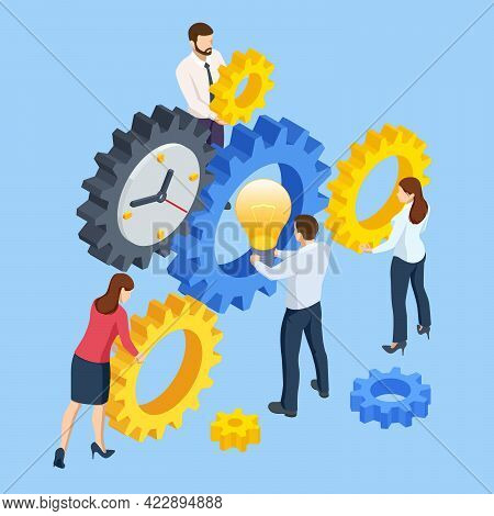 Isometric Business Process. Business Team Connect Pieces Of Gears. Project Planning, Cooperation, Wo