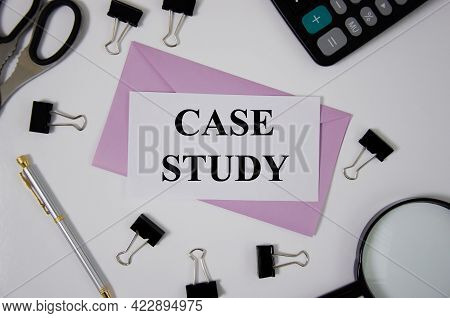 Case Study Concept Word Written On Pink Envelope Near Office Suppliesr