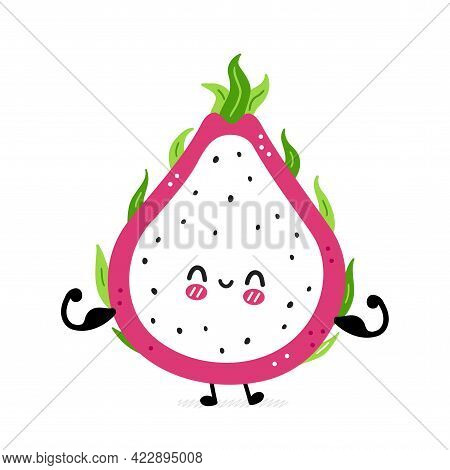 Cute Funny Dragon Fruit Show Muscle. Vector Hand Drawn Cartoon Kawaii Character Illustration Icon. I