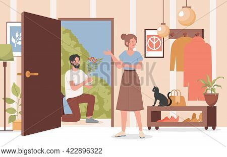 Man With Flower Bouquet Apologizing To His Girlfriend Or Wife Vector Flat Illustration. Angry Offend