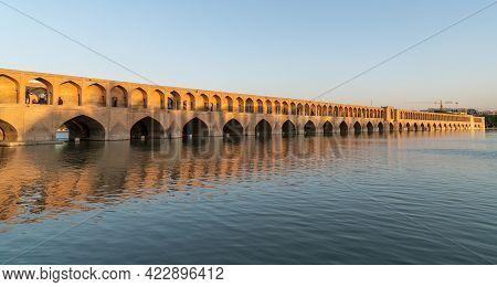 Isfahan, Iran - May 2019: Iranian People On Allahverdi Khan Bridge Also Known As Si-o-se-pol Bridge