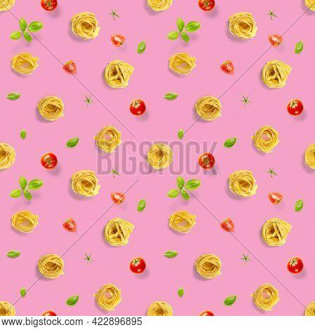 Seamless Pattern From Italian Pasta Tagliatelle. Raw Pasta Fettuccine Pop Art Background, Flat Lay.