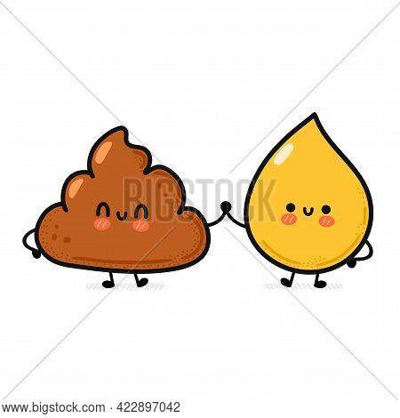 Cute Funny Happy Poop And Urine Drop Friends. Vector Hand Drawn Cartoon Kawaii Character Illustratio