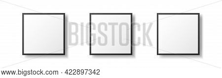 Three Black Frames. Square Picture Mockups. Isolated Photo Templates. Realistic Empty Posters With S