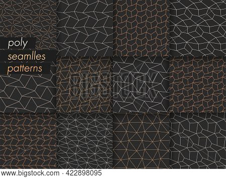 Repeat Modern Graphic Gold Decor Pattern. Seamless Retro Vector Black Design Texture. Seamless Black