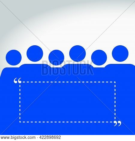 People Group Blue Quotation Background. Vector Illustration