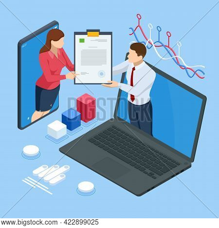 Document With A Signature. Isometric Electronic Signature. Electronic Document, Digital Form Attache