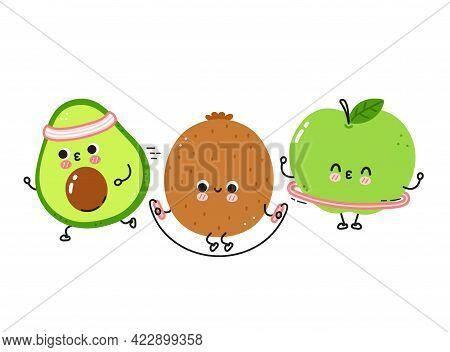 Cute Funny Fruits Make Gym Set Collection. Vector Flat Line Cartoon Kawaii Character Illustration Ic