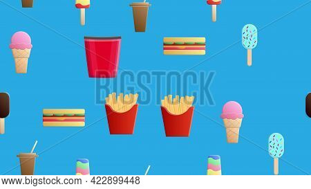 Endless Blue Seamless Pattern Of A Set Of Delicious Food And Snack Items Icons For A Restaurant Bar