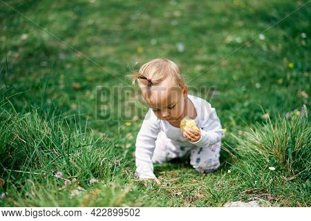 Little Girl Sits On Her Knees Leaning Forward On A Green Meadow With An Apple In Her Hand