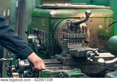 Machine Tool For Cutting And Grinding Metal Products, Metalwork Equipment In Factory, Close Up