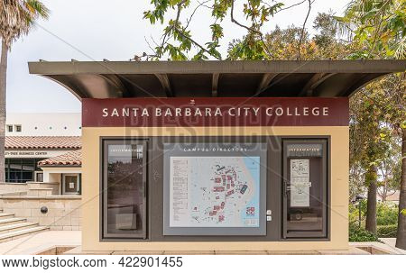 Santa Barbara, Ca, Usa - June 2, 2021: City College Facilities. Beige-brown-marroon Information Boot