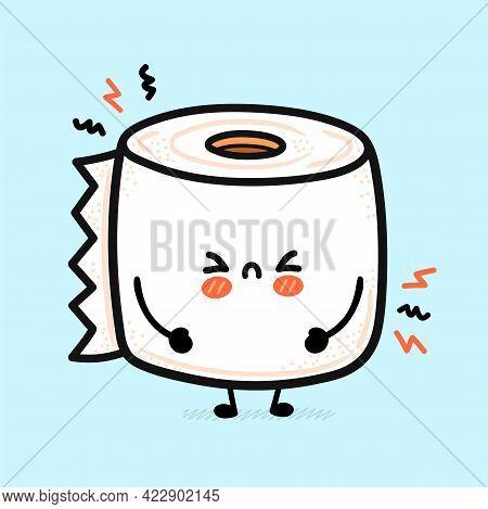 Cute Funny Sad White Toilet Paper Roll. Vector Hand Drawn Cartoon Kawaii Character Illustration Icon