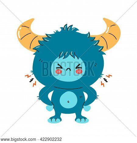 Cute Funny Sad Angry Yeti Monster Character. Vector Hand Drawn Cartoon Kawaii Character Illustration