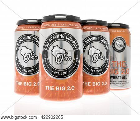 Winneconne, Wi - 29 May 2021:  A Six Pack Of Oso Brewing Company The Big 2.0 Wheat Ale Beer On An Is
