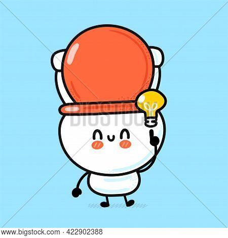 Cute Funny Happy White Toilet Bowl With Idea Light Bulb. Vector Hand Drawn Cartoon Kawaii Character