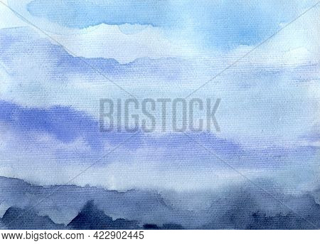 Watercolor Paint Abstract Sky And Mountain Background. Blue And Gray Spot Texture. Backdrop Of Spots