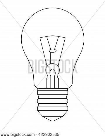 Light Bulb. Incandescent Light Bulb - Vector Linear Illustration. Outline. Vintage Light Bulb Idea S
