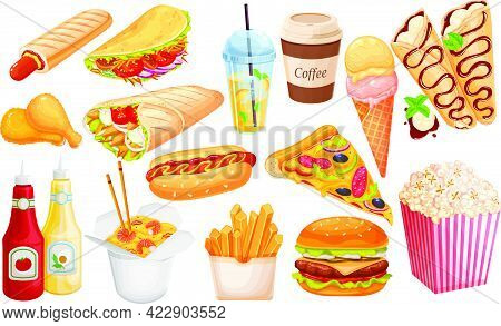 Fast Food Outline Cartoon Icon Set. Hamburger, Hot Dog, Shawarma, Wok Noodles, Pizza And Others For