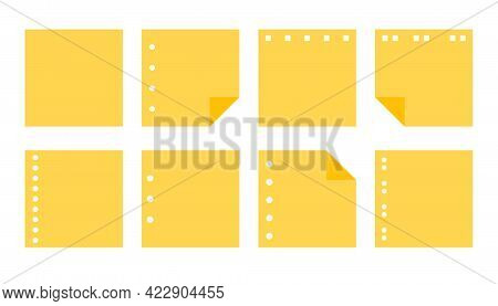 Flat Yellow Paper Sticker Set. Various Shapes Empty Notepad Of Reminder Messages, Planner. Template