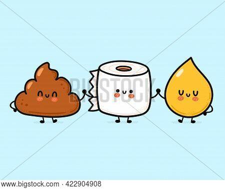 Cute Funny Happy Poop, Urine Drop And Toilet Paper. Vector Hand Drawn Cartoon Kawaii Character Illus