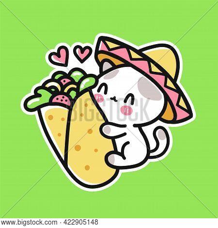 Cute Funny Little Cat In Mexican Hat Hugs Burrito. Vector Hand Drawn Cartoon Kawaii Character Illust
